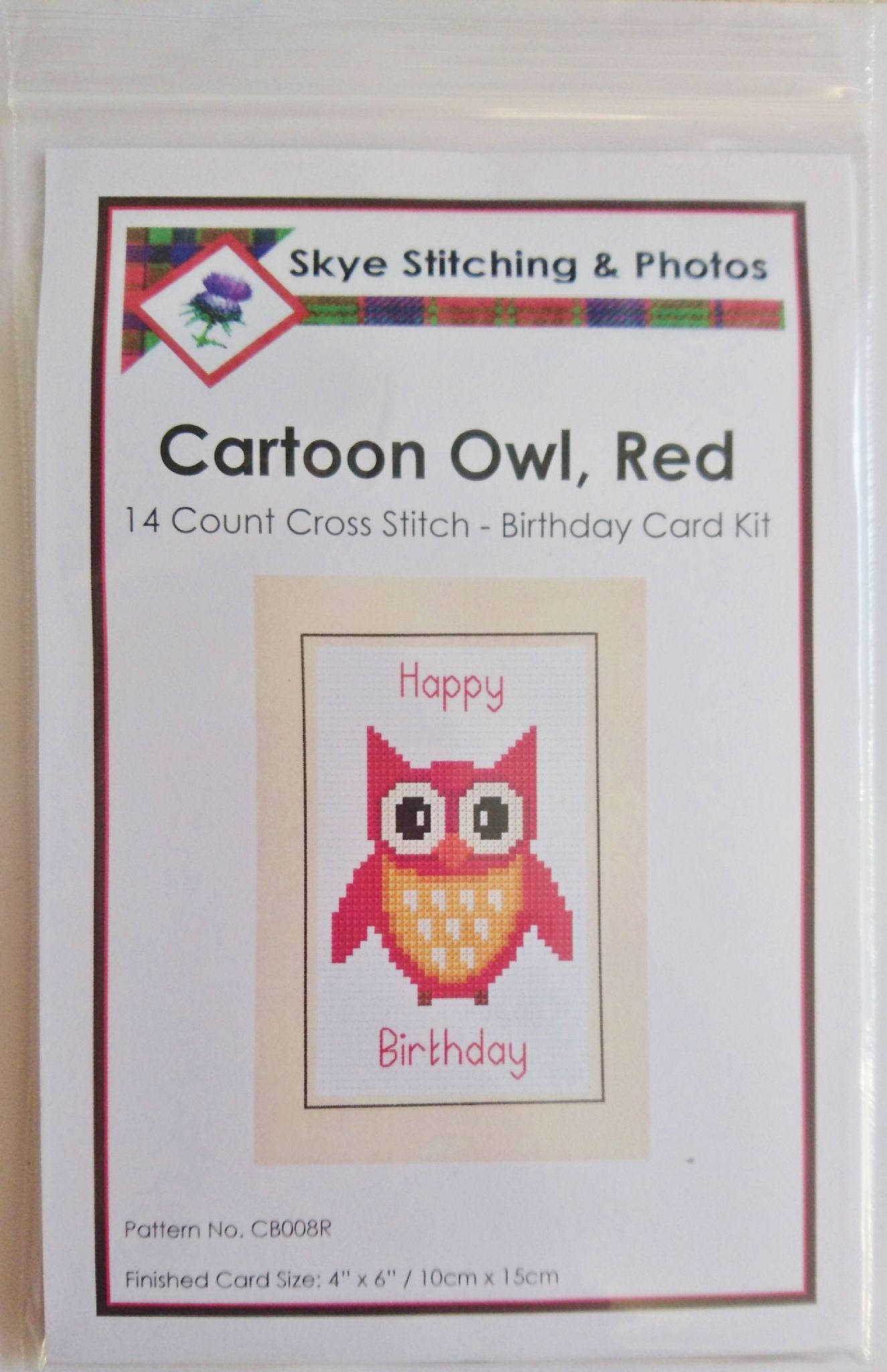 Style Owl Birthday A6 Greeting Card 14 Count Cross Stitch Kit